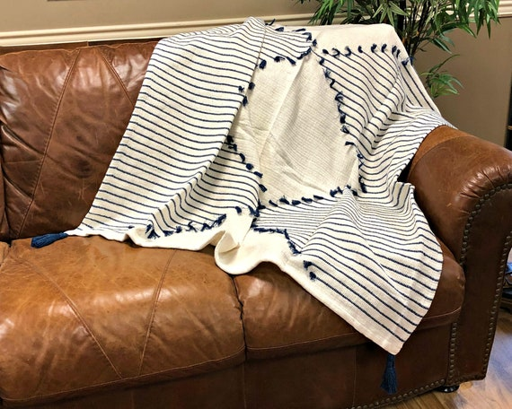 Navy Woven Diamond Striped Tassel Throw Blanket