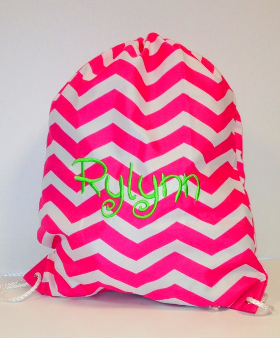 String Backpack in Pink and White Chevron