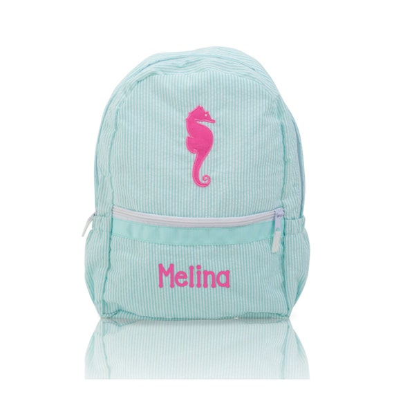 Aqua Seersucker Backpack with Pink Seahorse
