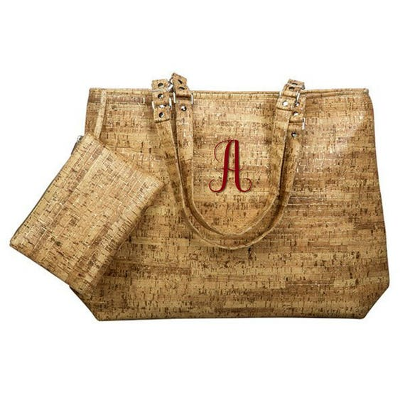 Faux Cork Tote with Attached Pouch