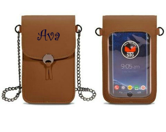 Brown Touch Screen Phone Crossbody Purse