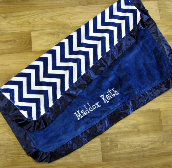 Monogrammed Blanket in Navy Blue Chevron Minky with Satin Ruffles