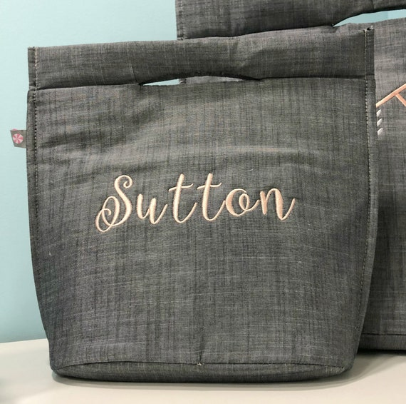Gray Chambray Lunch Bag