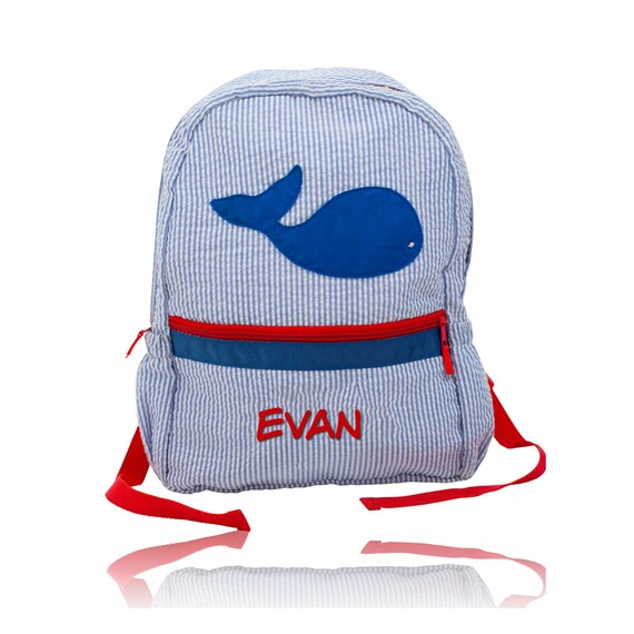Blue Seersucker Backpack with Blue Whale and Red Trim
