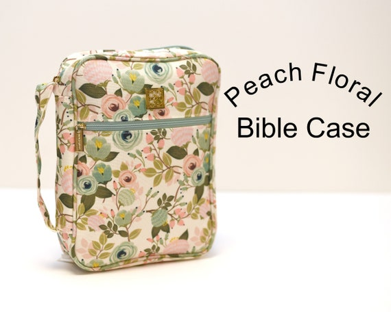 Monogrammed Peach Floral Bible Cover