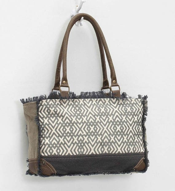 X Design Medium Tote Bag in Recycled Army Canvas