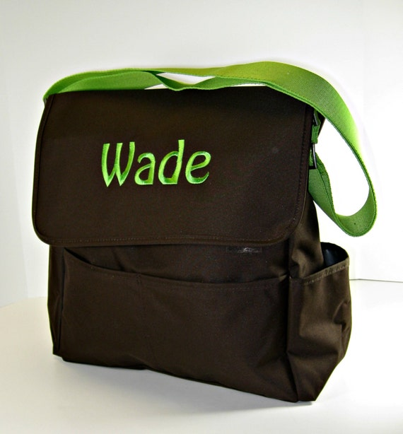 Brown and Green Diaper Bag