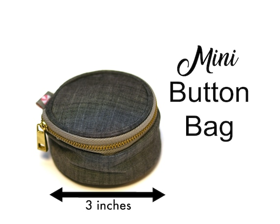 Grey Chambray Mini Button Bag