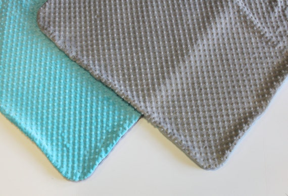 Lovely Baby Blanket in Aqua and Grey Minky