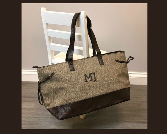 Brown Herringbone Accent Tote Bag