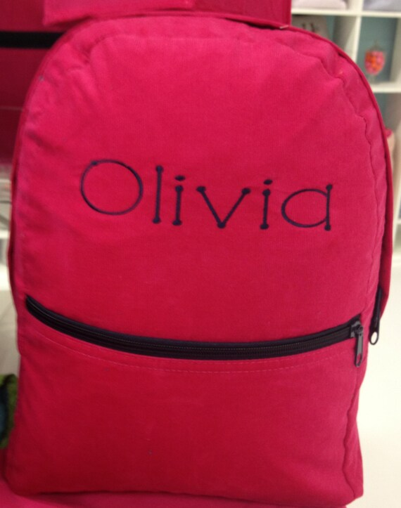 Hot Pink Corduroy Backpack with Navy Accents