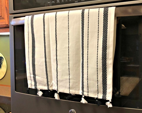 Cotton Dish Towel with Black and White Accents