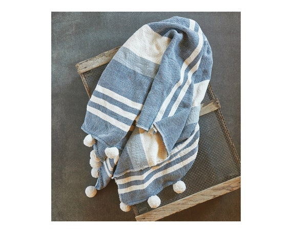 Pom Striped Throw