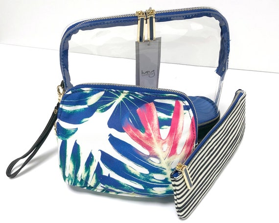Millie Tropical and Stripe 3-in-1 Cosmetic Bag