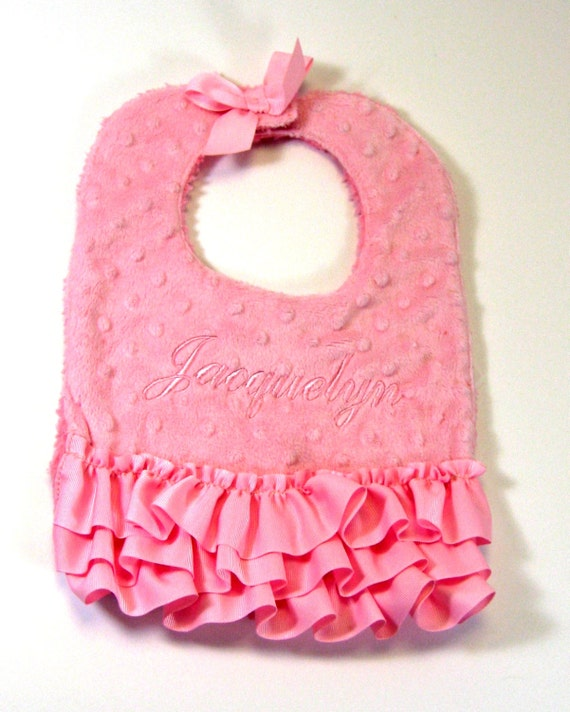 Minky Bib in Pink for Baby Girls