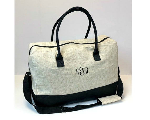 Black Linen Duffel Bag