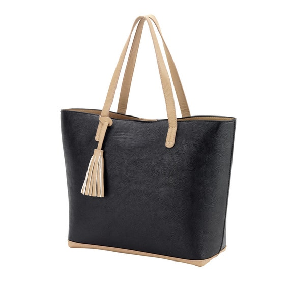 Aubrey Purse in Black with Tan Accents