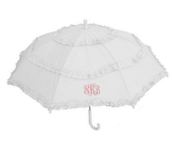 Monogrammed White Umbrella for Little Girls
