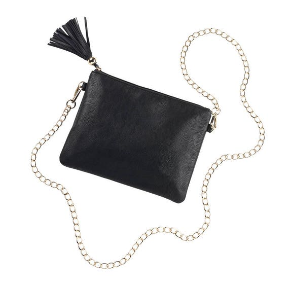 Tasseled Purse with Chain Strap in Black