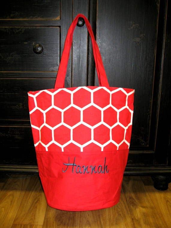 Honeycomb Red Boat Tote