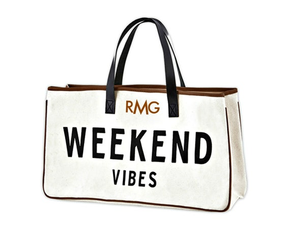 Weekend Vibes Canvas and Leather Tote