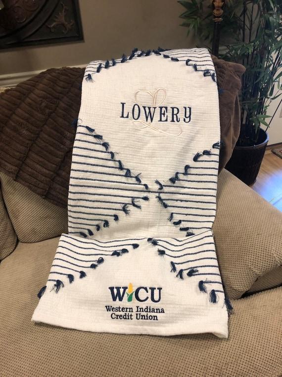 Navy Woven Diamond Striped Tassel Throw Blanket