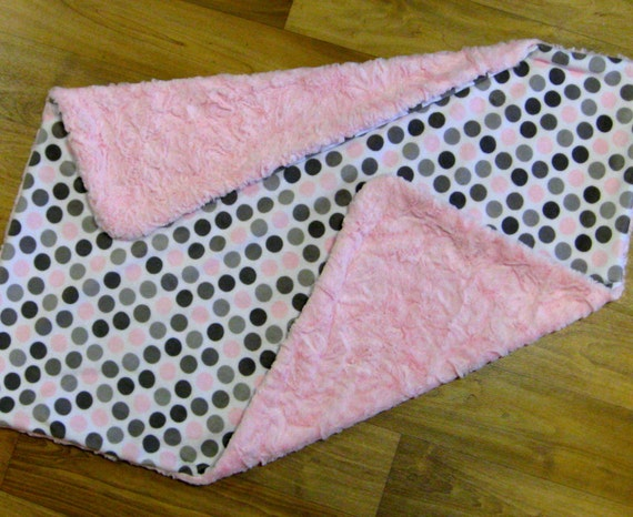 Lovely Baby Blanket in Pink and Grey Dot