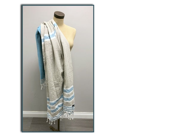 Surfside Lined Beach Towel in Camel and Turquoise