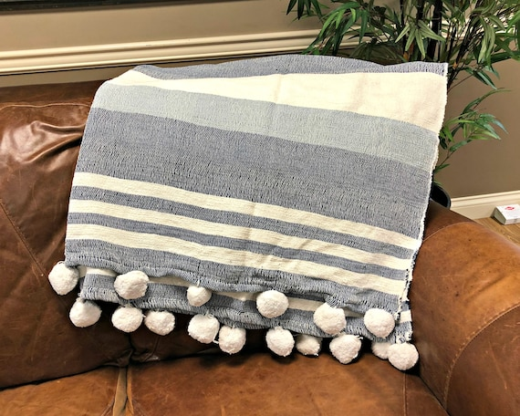 Blue Striped Pom Pom Throw