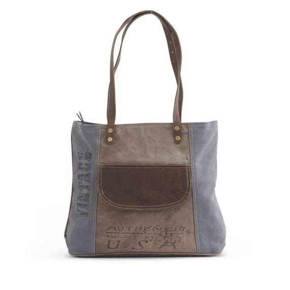 Vintage-Inspired Tote with Canvas, Leather, and Ticking