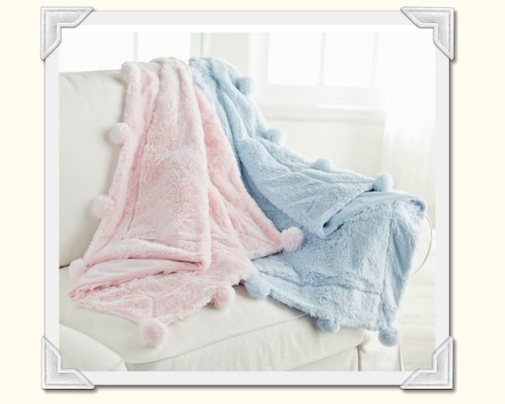 Plush Pom-Pom Baby Blanket in Pink or Blue