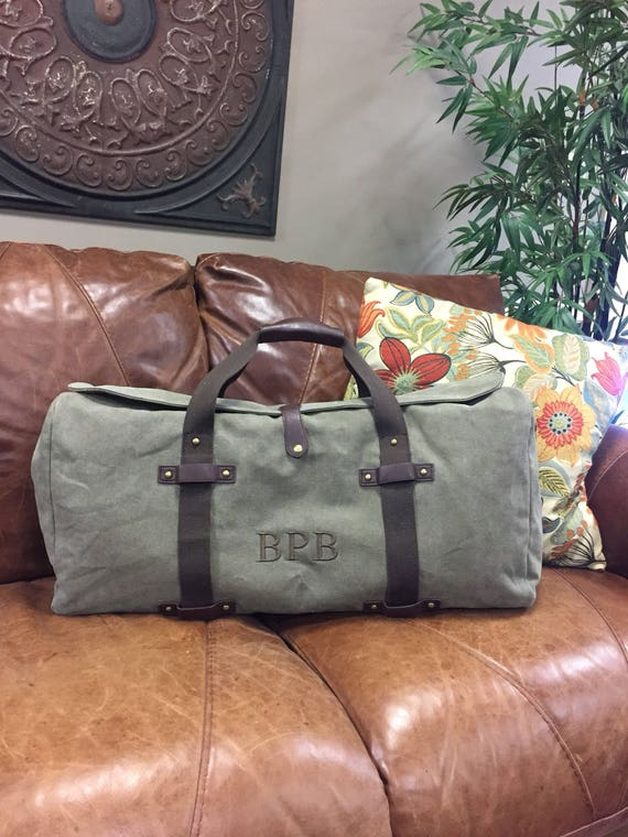 Duffle Bag in Washed Green Canvas