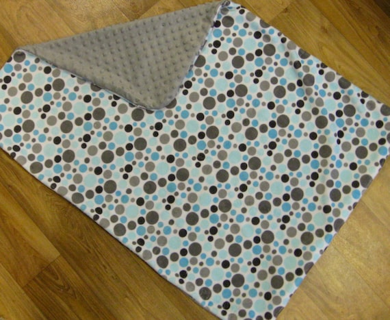 Lovely Baby Blanket in Aquas and Grey Dot