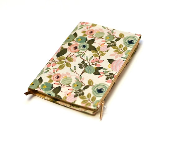 Monogrammed Peach Floral Lined Journal with Zippered Pocket