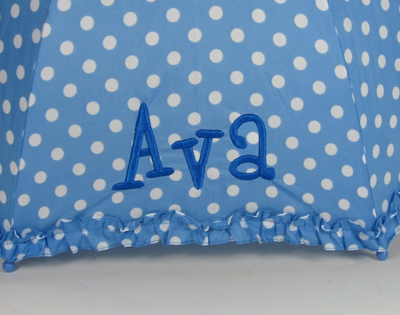 Ruffly Polka Dot Umbrella in Blue