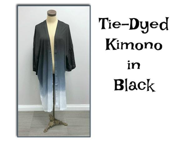 Tie-Dye Kimono in Black