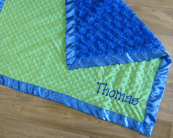 ONLY ONE LEFT Bright Blue Blanket Reverses to Lime Green