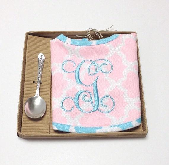 Monogrammed Baby Bib with Spoon Keepsake