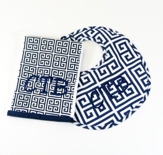 Navy Greek Key Bib and Burp Cloth