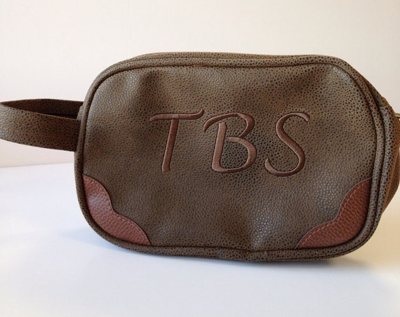 Dark Brown Scotch Grain Toiletry Case