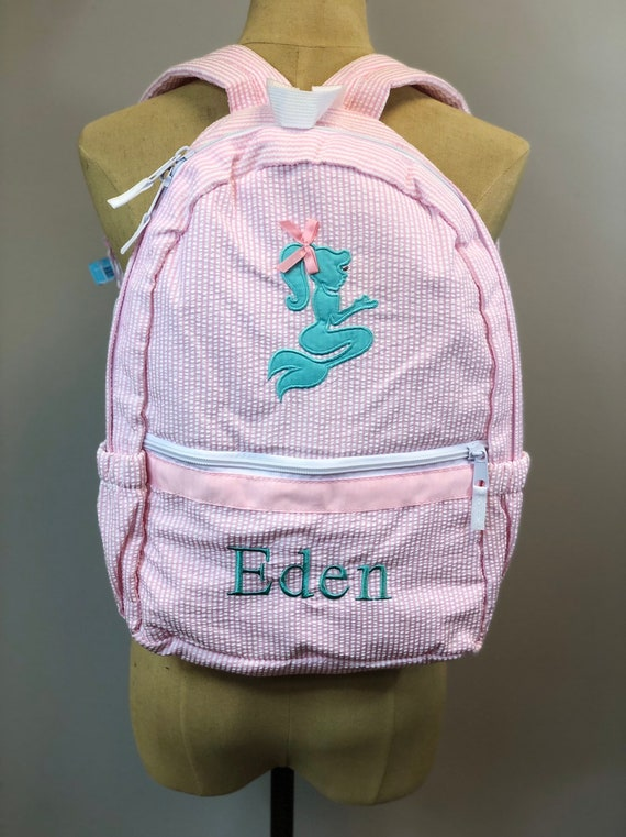 Pink Seersucker Backpack with Aqua Mermaid