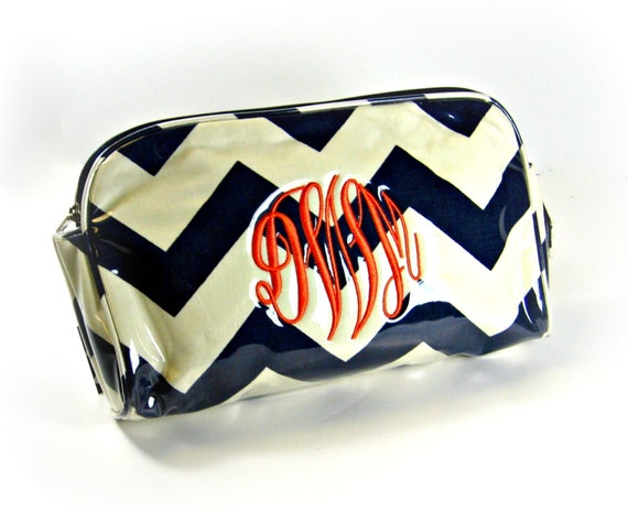 Navy Chevron Cosmetic Bag