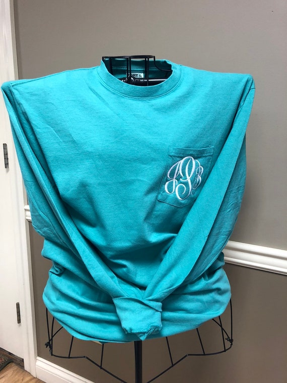 Long-Sleeved Monogrammed Pocket T-Shirt in Peacock
