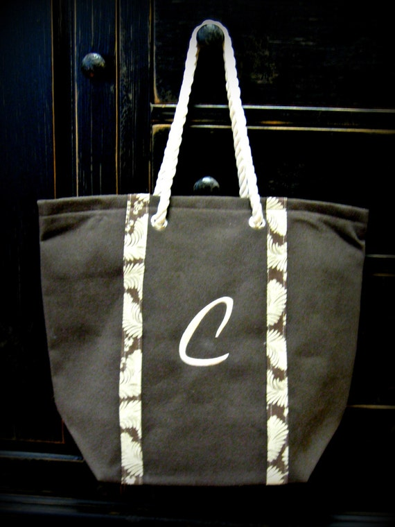 Large Canvas Bag Includes Monogram