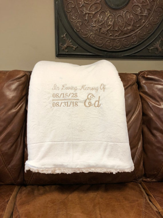 Monogrammed Alpine Fleece and Micro Mink Sherpa Blanket