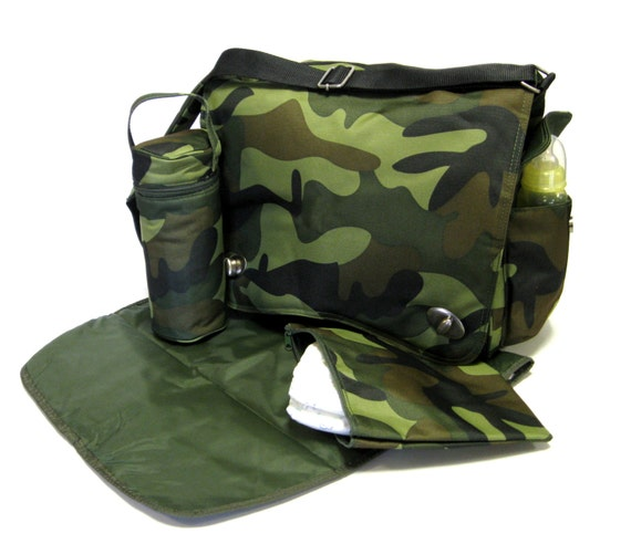 Camouflage Messenger Diaper Bag with Extras by Kalencom