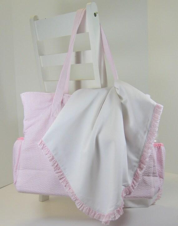 Classic Seersucker Diaper Bag and Blanket Set