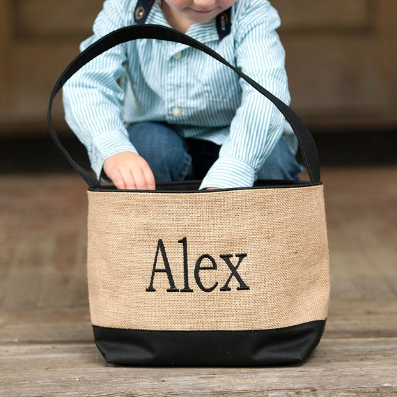 Black and Burlap Bucket