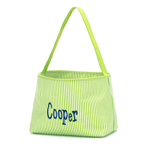 Lime Green Striped Bucket is Great for Easter