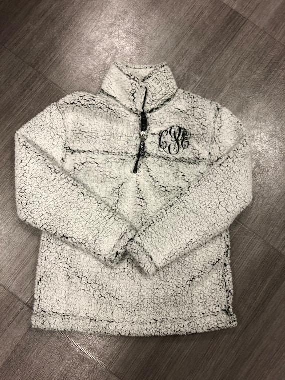 Unisex Monogrammed Sherps Quarter-Zip Pullover in Smokey Grey